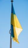 Latać Ukraina flaga w Strasburg Zdjęcie Stock
