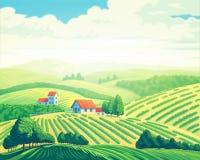 lata wiejskiego krajobrazu ilustracja wektor