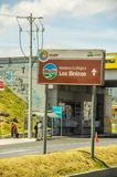 Latacunga, Ecuador September, 28, 2018: Outdoor view of road of enter to the city with an informative ign of Illinizas royalty free stock photo