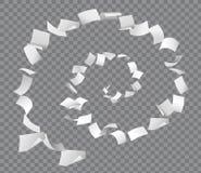 Latające białych księg strony w ślimakowatym kształcie na w kratkę tle ilustracja wektor
