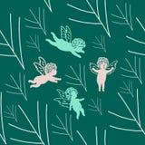 Latający aniołowie w niebie w gałąź ilustracji