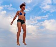 Latająca dziewczyna nad pięknym niebem Obraz Stock