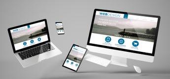 latająca przyrząd sieci projekta wyczulona strona internetowa obraz royalty free