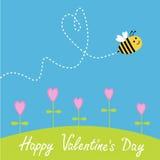 Latająca pszczoła. Kwiaty. Junakowania serce w niebie. Szczęśliwy  ilustracja wektor