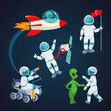 Latająca rakieta, kosmita z satelitą, obcy mówienie astronauta odizolowywający royalty ilustracja