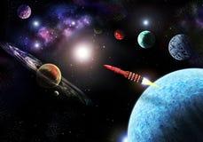 Latająca rakieta w przestrzeni wśród planet ilustracji