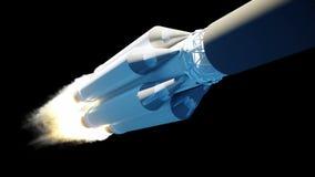 Latająca rakieta z alfy maską Pożarnicza og rakieta Realistyczna 4K animacja zbiory