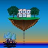Latająca wyspa nad woda royalty ilustracja