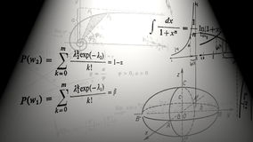 Latające matematycznie formuły i wykresy Loopable ilustracji