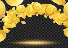 Latające złote monety nad ciemnym przejrzystym tłem Zdjęcia Stock
