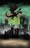 Latającego smoka miasto Rujnuje apokalipsę royalty ilustracja
