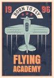 Latającej akademii Retro Stylowy plakat ilustracji