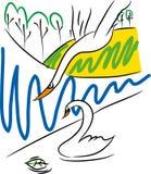 Latający łabędź i inni piękni łabędź Zdjęcia Royalty Free