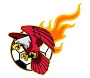 Latający Łysy Eagle I Płomienna piłki nożnej piłka Royalty Ilustracja