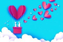 Latający amorek - mały anioł Miłości Różowy serce w papieru cięcia stylu Origami chłopiec - aniołeczek Gorący lotniczego balonu l royalty ilustracja