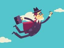 Latający biznesmen z smartphone w ręce w obłocznym magazynie zbiory