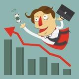 Latający biznesmena bohater z szeroko rozpościerać ręką dla sukcesu pojęcia Przyrostowy wykres i strzała tła postać z kreskówki z Zdjęcia Stock