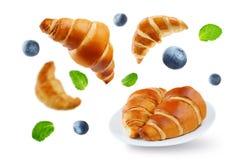 Latający croissants z czarnymi jagodami i nowymi liśćmi odizolowywającymi Obrazy Stock