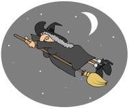 Latający czarownica post ilustracja wektor