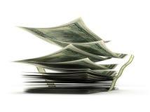 Latający dolarowi rachunki w stercie, ilustracja wektor