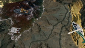 Latający helikopter nad górami i jeziorem zbiory