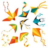Latający kania węża węża smoka dzieciaki bawją się kolorową plenerową lato aktywności wektoru ilustrację royalty ilustracja