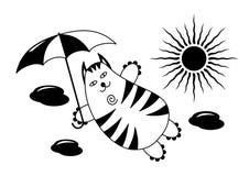 Latający kot z parasolem w niebie przeciw tłu chmury i słońce Śmieszny humorystyczny rysunek jest może projektant wektor evgeniy  royalty ilustracja