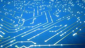 Latający nad układem scalonym z latających elektrony Błękitny kolor zdjęcie wideo