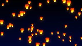 Latający niebo lampiony w nocnym niebie ilustracja wektor