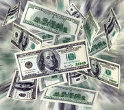 latający pieniądze Zdjęcia Stock