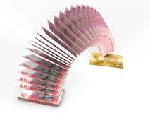 Latający pieniądze 3D gotówki z powrotem pojęcie Zdjęcie Stock