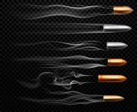 Latający pocisków ślada Mknący militarny pociska dymu ślad, pistolecika krótkopędu ślada i realistyczny krótkopęd, wlec wektor ilustracja wektor