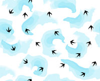 Latający ptaki w niebie w chmurach deseniują wektor Obrazy Royalty Free
