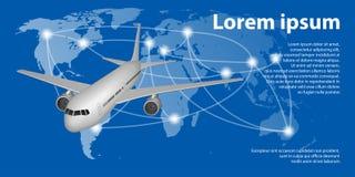 Latający samolot na Światowej mapie z ślad linią Podróż samolotowego sztandaru pojęcie royalty ilustracja