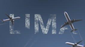 Latający samoloty wyjawiają Lima podpis Podróżować Peru wstępu konceptualna animacja zdjęcie wideo