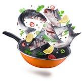 Latający seabass łowi z pikantność spada w smaży nieckę Ścinek ścieżka obraz stock