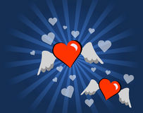 latający serca Obrazy Stock