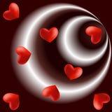 Latający serca na promieniowej czekoladzie - brown biały tło Fotografia Royalty Free