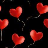 Latający serce kształtujący balony, bezszwowy tło Fotografia Stock