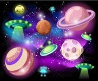 Latający spodeczek, statek kosmiczny, UFO Ustalona ilustracja set kreskówki śmieszny UFO, niezidentyfikowany statek kosmiczny I s royalty ilustracja
