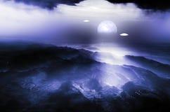 Latający spodeczki nad doliną przy nocą ilustracja wektor