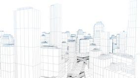 Latający w kreślącym mieście na bielu, akcyjny materiał filmowy royalty ilustracja