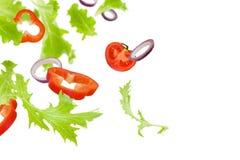 Latający warzywa, dzwonkowy pieprz, cebulkowi pierścionki, pomidory i sałata odizolowywający na białym tle, obrazy royalty free