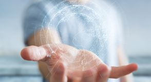 Latający ziemski sieć interfejs aktywujący biznesmena 3D rende Obraz Stock