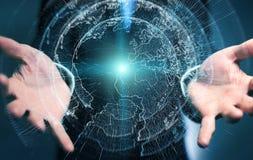 Latający ziemski sieć interfejs aktywujący biznesmena 3D rende Obrazy Royalty Free