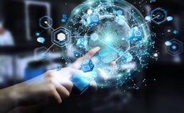 Latający ziemski sieć interfejs aktywujący biznesmena 3D rende Zdjęcie Royalty Free