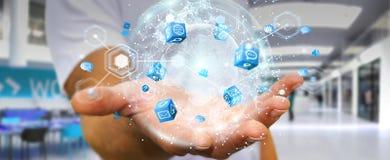 Latający ziemski sieć interfejs aktywujący biznesmena 3D rende Fotografia Royalty Free