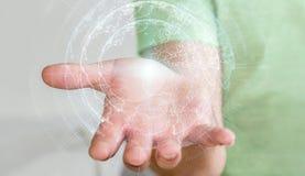 Latający ziemski sieć interfejs aktywujący biznesmena 3D rende Zdjęcia Stock