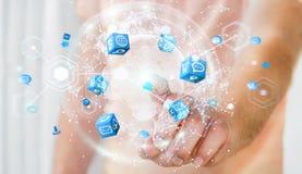 Latający ziemski sieć interfejs aktywujący biznesmena 3D rende Obrazy Stock
