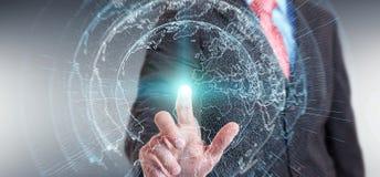 Latający ziemski sieć interfejs aktywujący biznesmena 3D rende Fotografia Stock